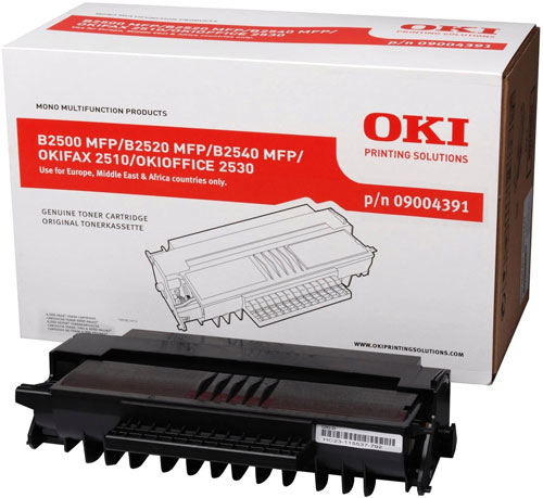 Remanufactured Oki B2500 Black Toner Cart 4k 9004391 - rem01