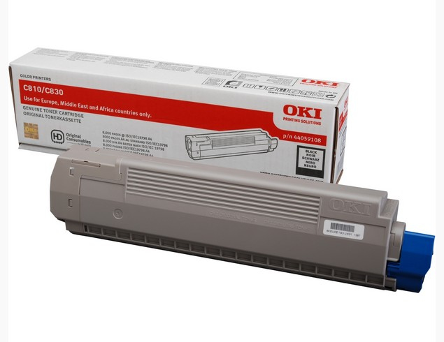 Remanufactured Oki C810 / C830 Black Toner Cart 8k 44059108 - rem01