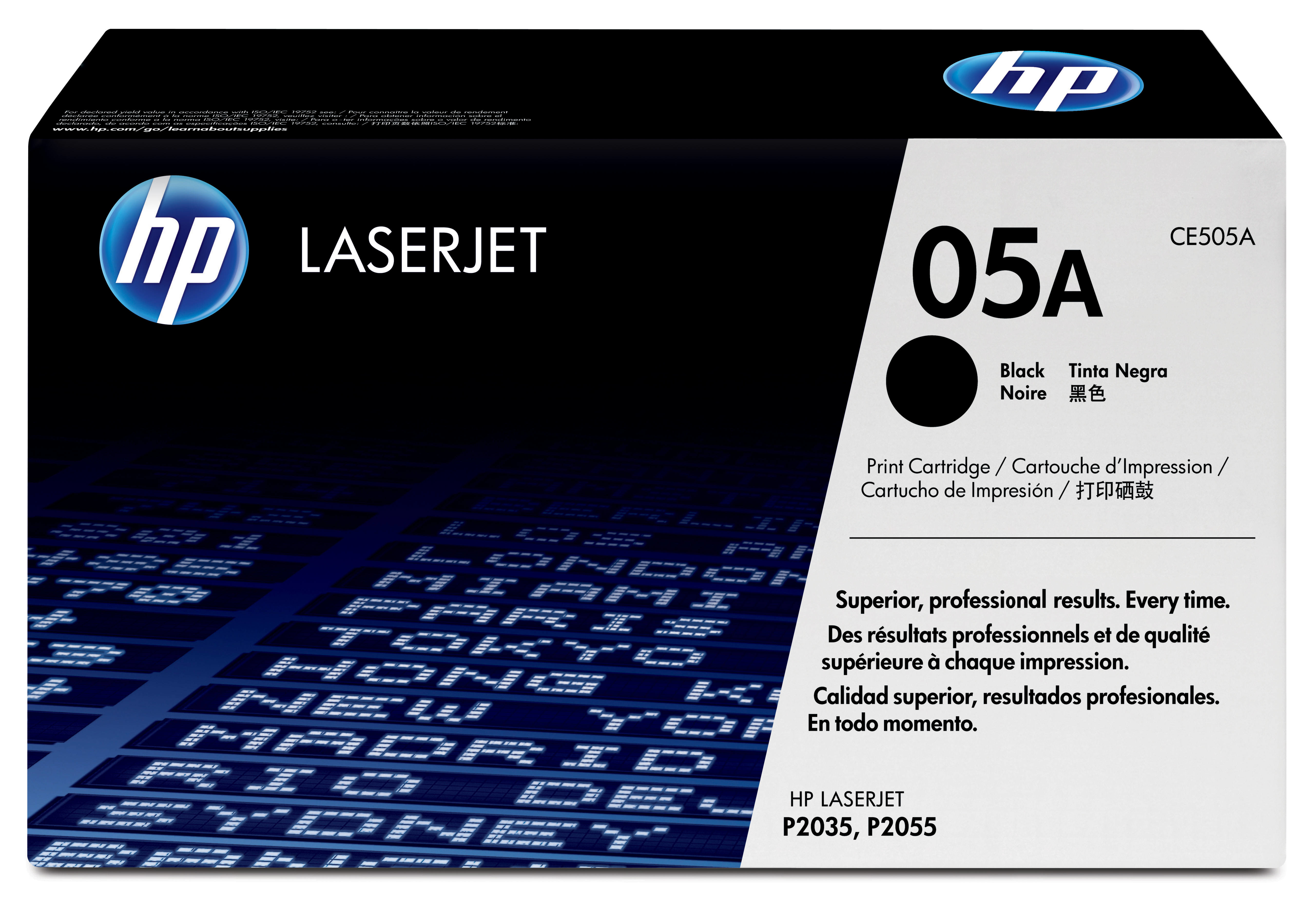 HP 05A - CE505A - 1 X Black - Toner Cartridge - For LaserJet P2033, P2035, P2036, P2037, P2054, P2055, P2056, P2057 CE505A - C2000