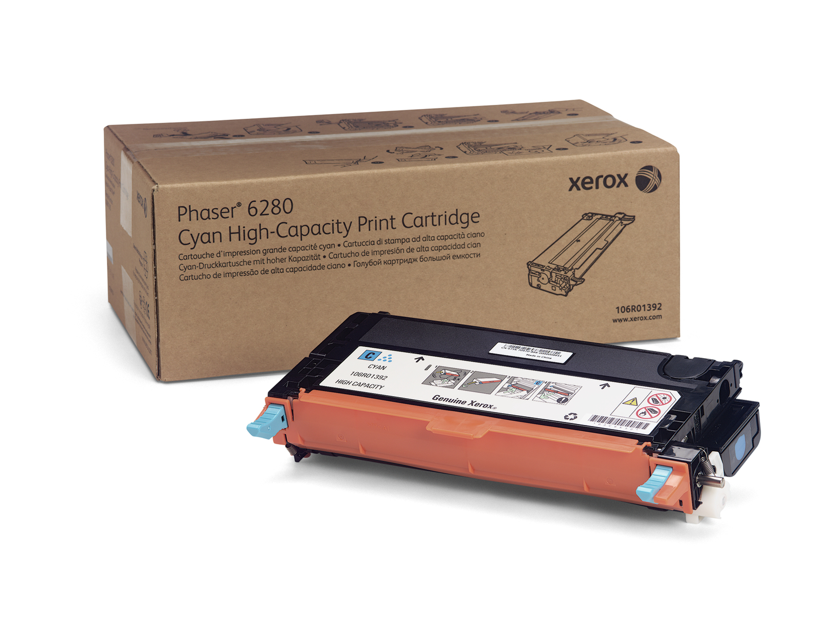 Xer106r01392   Xerox Phaser 6280 H/c Cyan     Xerox Phaser 6280 H/c Cyan Toner 6kpages                     - UF01