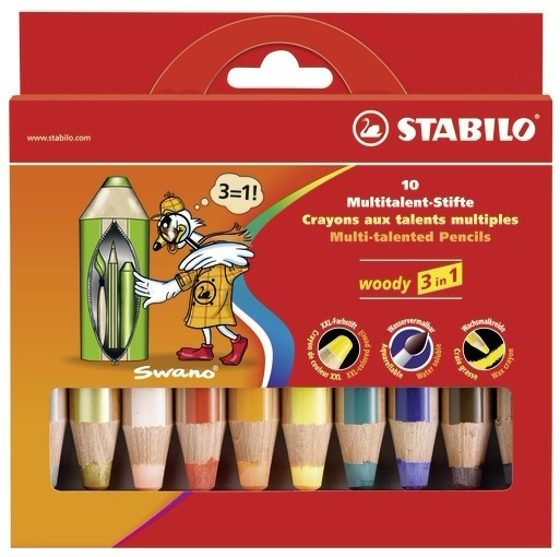 stabilo Stabilo Woody 3 In 1 Colouring Pencils With Sharpener Pk10 880/10-2 - AD01