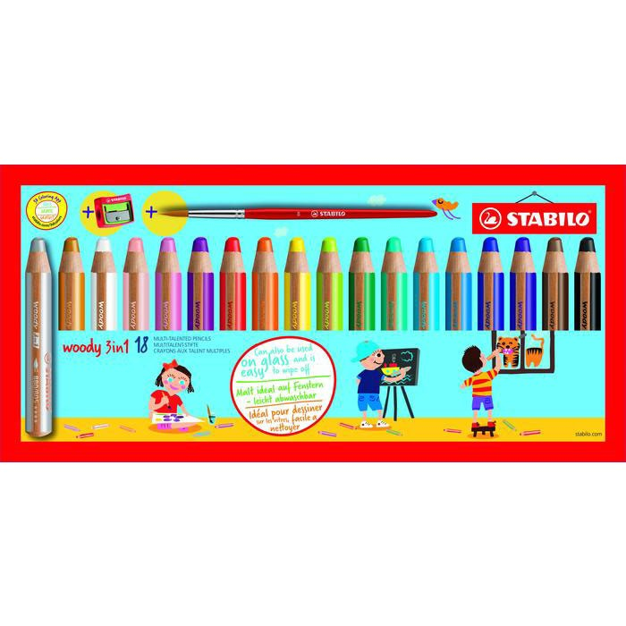 stabilo Stabilo Woody 3 In 1 Coloring Pencils Pnt Brsh & Shrpnr Pk18 880/18-3 - AD01