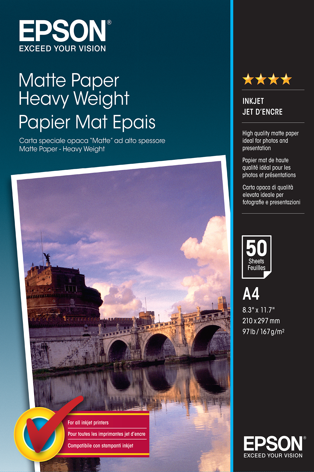 epson Epson Matte Heavyweight Paper A4 50 Sheets C13s041256 - AD01