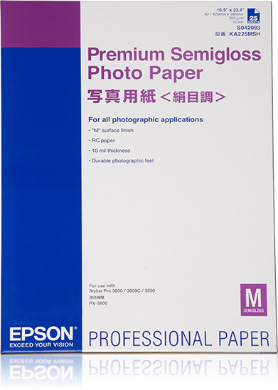 Epson Epson Prem Semigloss Photo Pap A2 X25 Sheets 329mm C13s042093 - AD01
