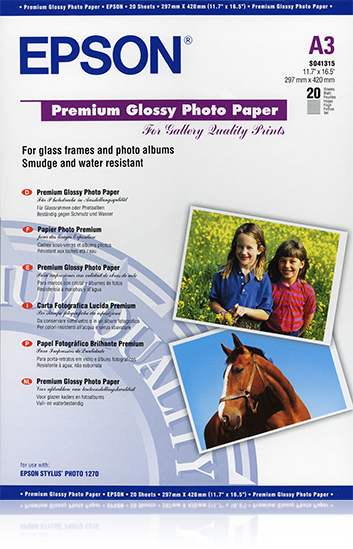 Epsso41315     Epson A3 Premium Glossy Photo  A3 255gsm 20 Sheets                                          - UF01