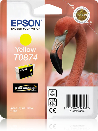 Epst08744010   Epson T0874 Yellow Ink         T087 Sp R1900 Yellow                                         - UF01