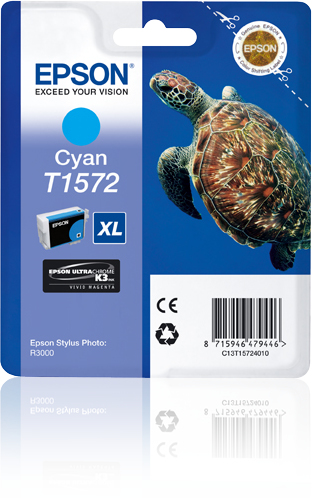 Epst15724010   Epson R3000 Cyan               Ultrachrome K3 Vm Ink 25.9ml                                 - UF01