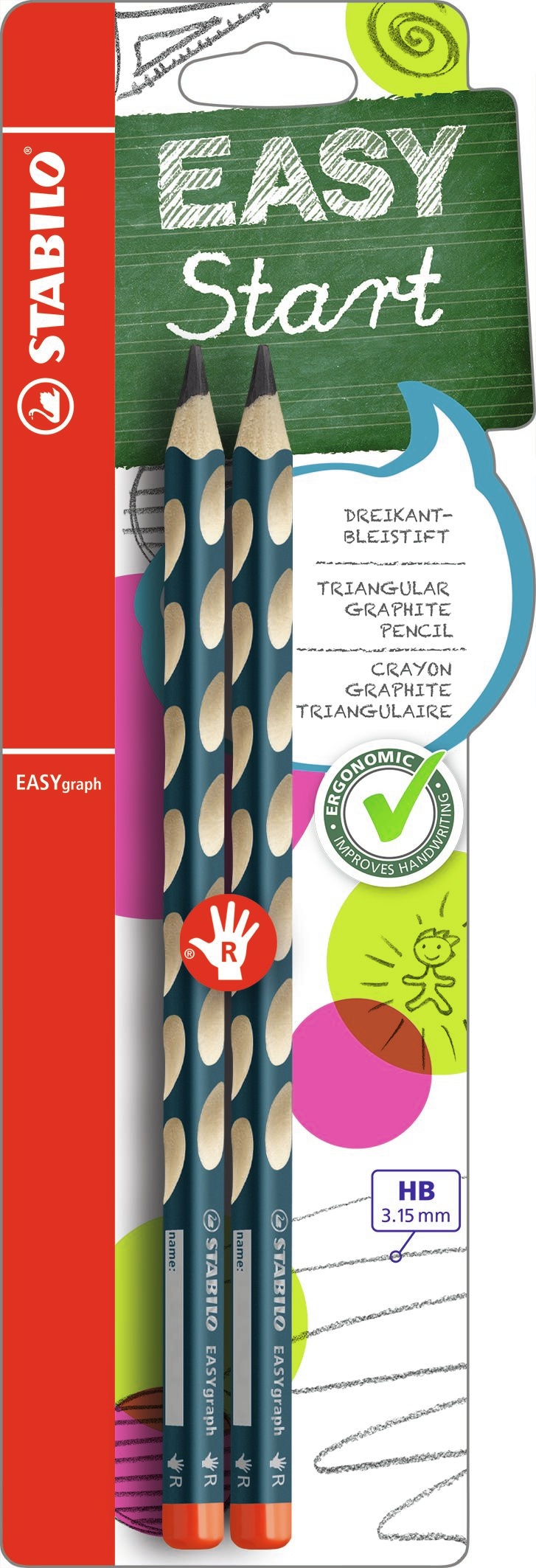stabilo Stabilo Easygraph Hb Pencil Right Petrol Blister Of 2 B-39890-10 - AD01