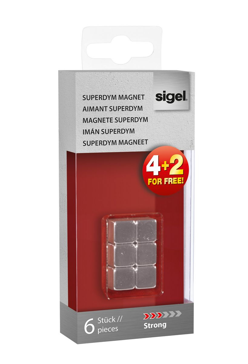 sigel Sigel Magnets Superdym C5 Strong Cube 10x10x10mm Silver Pk6 Gl192 - AD01