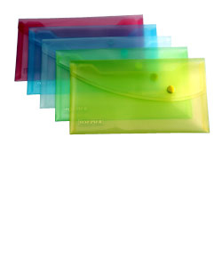 rapesco Rapesco Bright Transparent Popper Wallet Dl Assorted Pk5 0690 - AD01
