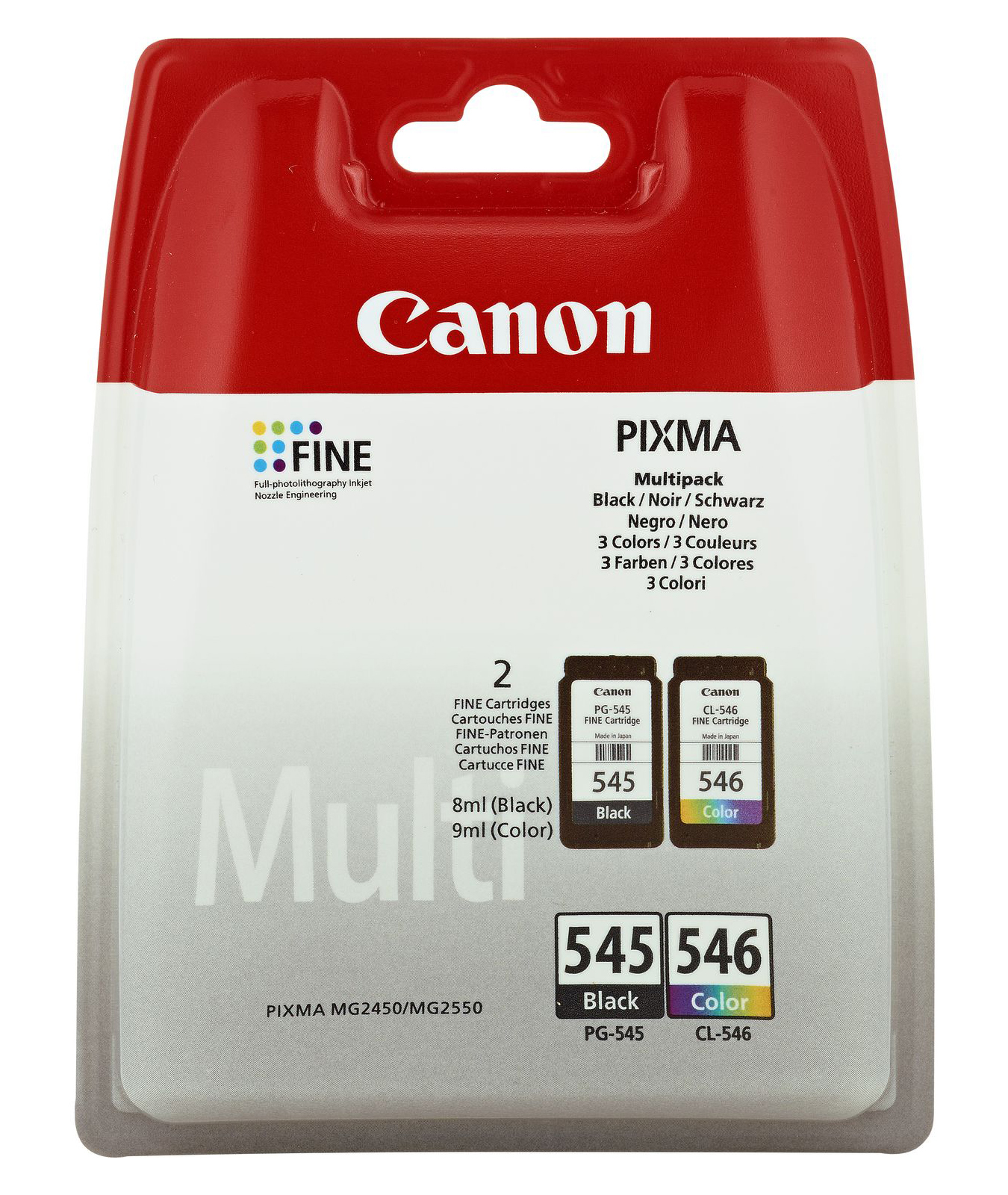 Canon - Supplies Ink Hv          Pg-545/cl-546 Multipack W/o Sec     Value Pack Black & Colour Ctdgs     8287b005