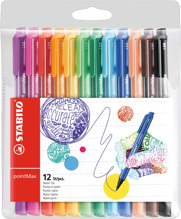 stabilo Stabilo Pointmax Premium Writing Felt Pen Assorted Pk12 488/12-01 - AD01