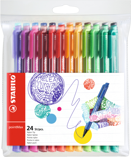stabilo Stabilo Pointmax Premium Writing Felt Pen Assorted Pk24 488/24-01 - AD01