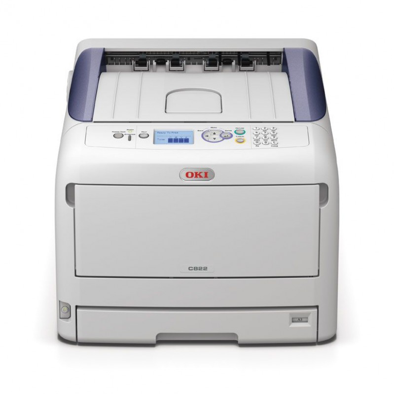 44705914 OKI C822N C822 A3 A4 Network USB Desktop Colour LED Laser Printer - Refurbished with 3 months RTB warranty