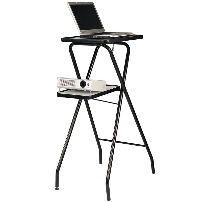 202001 Folding Projector Stand  Tilt Adjustment, And Second Lower Platform Folds Flat When Not In Use. Tubular Steel Frame With Adjustable Foot. 202001 - C2000