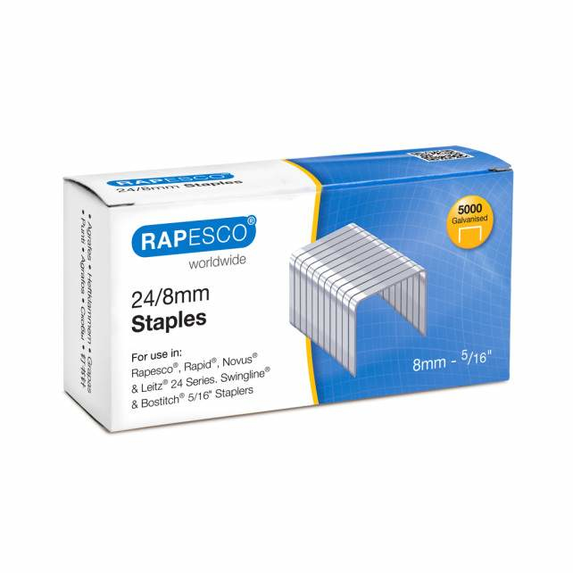 rapesco Rapesco Staples 8mm 24/8 Pk5000 S24807z3 - AD01