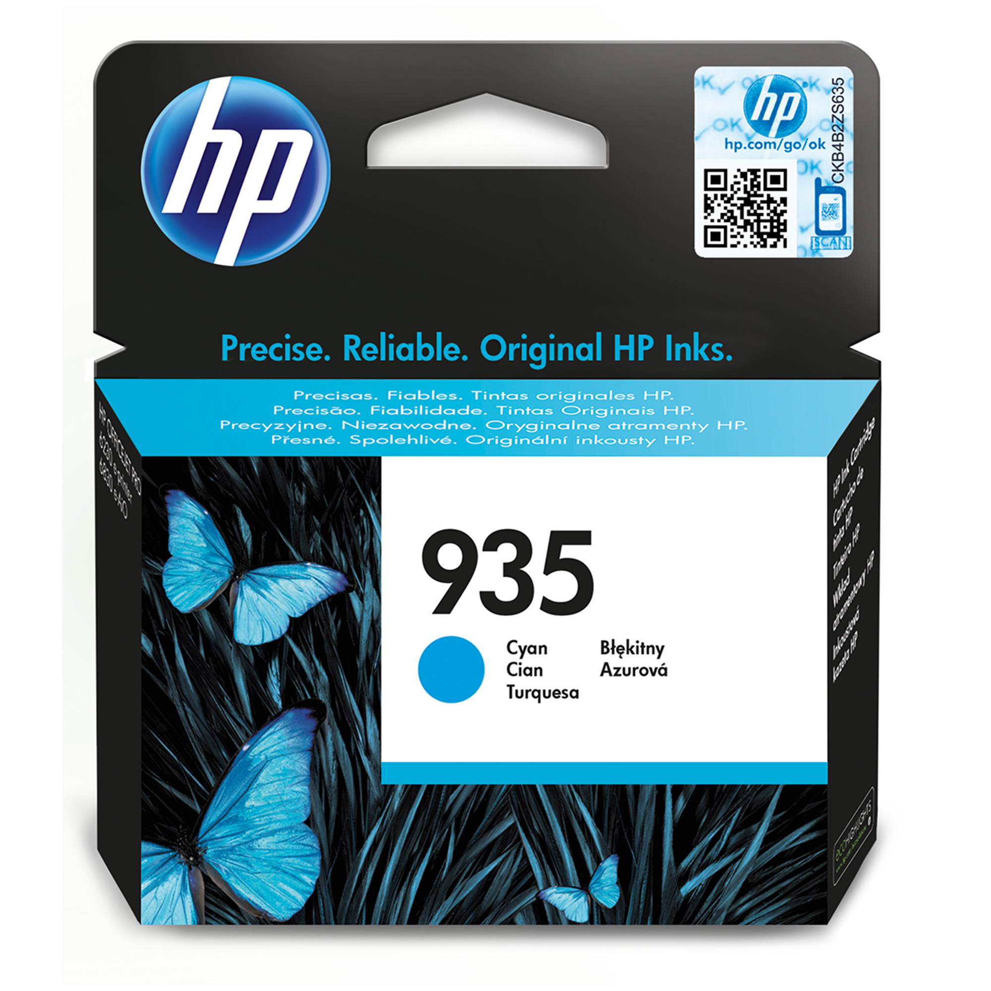 Hp - Inkjet Supply Mvs (1n)      Ink Cartridge No 935 Cyan           De/fr/nl/be/uk/se/it                C2p20ae#bgx