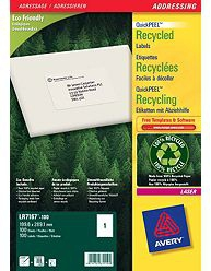 avery Avery Lr7167-100 199.6x289.1mm Qpeel Recycled Labels Pk100 Lr7167-100 - AD01