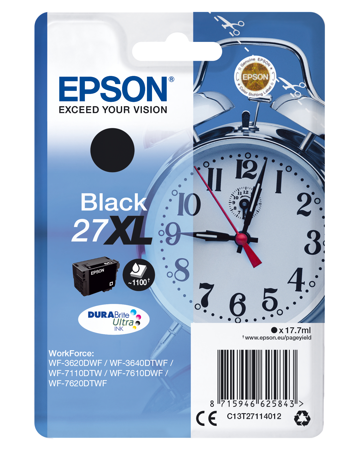 Epson 27XL ink cartridge blk High capacity 17.7ml 1.100 pag C13T27114012 - eet01