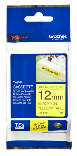 Bro 12mm Black On Yellow Tape Adhesi Tzes631 - WC01