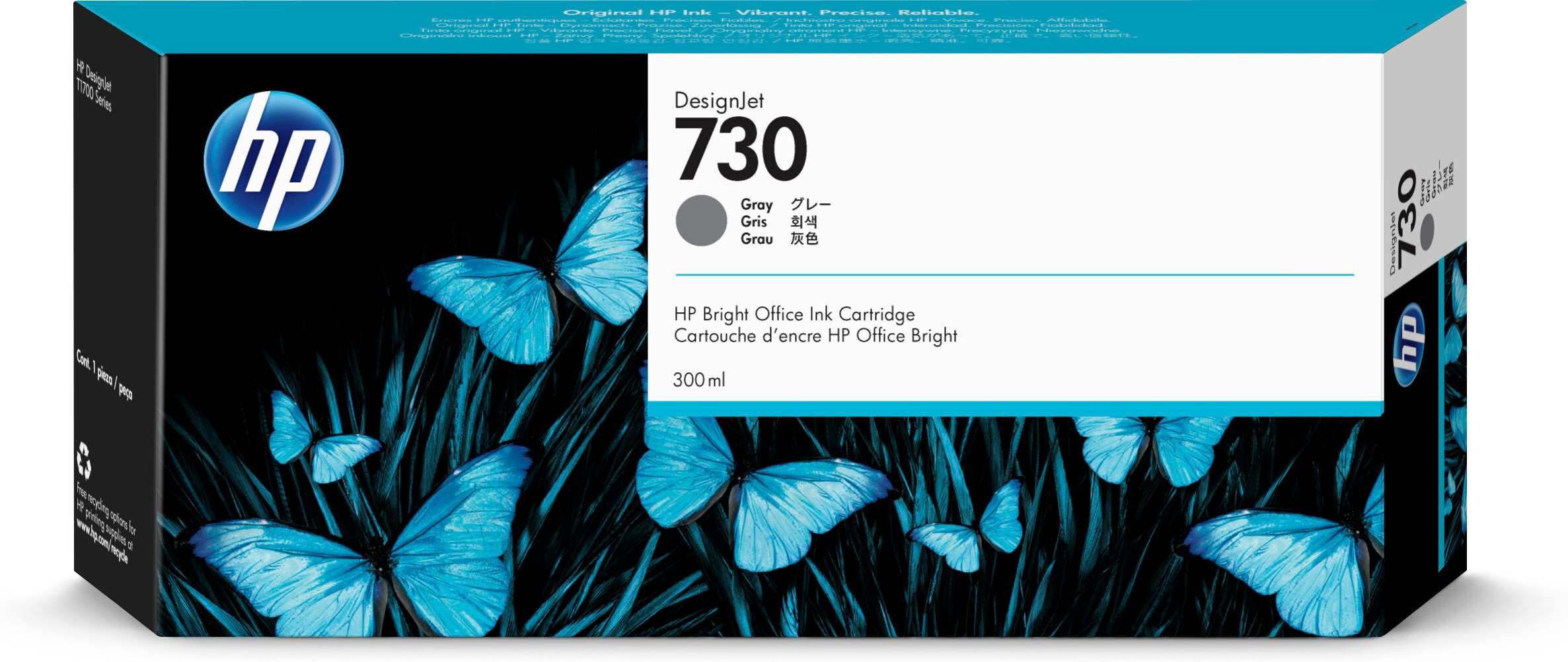 HP No. 730 Ink Cartridge Grey - 300ml P2v72a