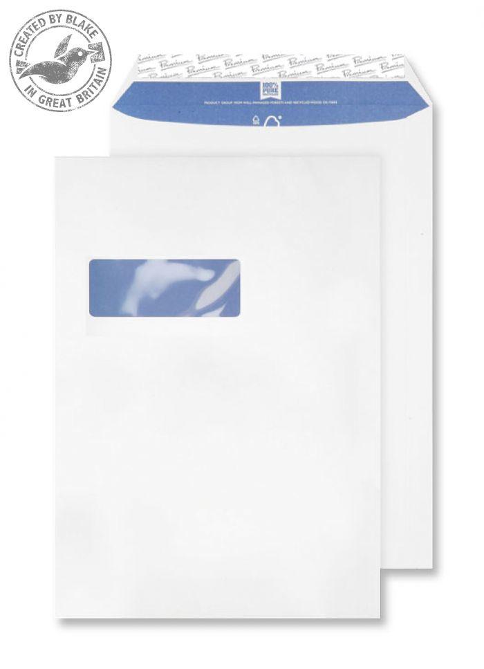 RP84892 Blake Premium Pure Super White Wove Window Peel & Seal Pocket 324X229mm 120G Pk250 Code Rp84892 3P- RP84892