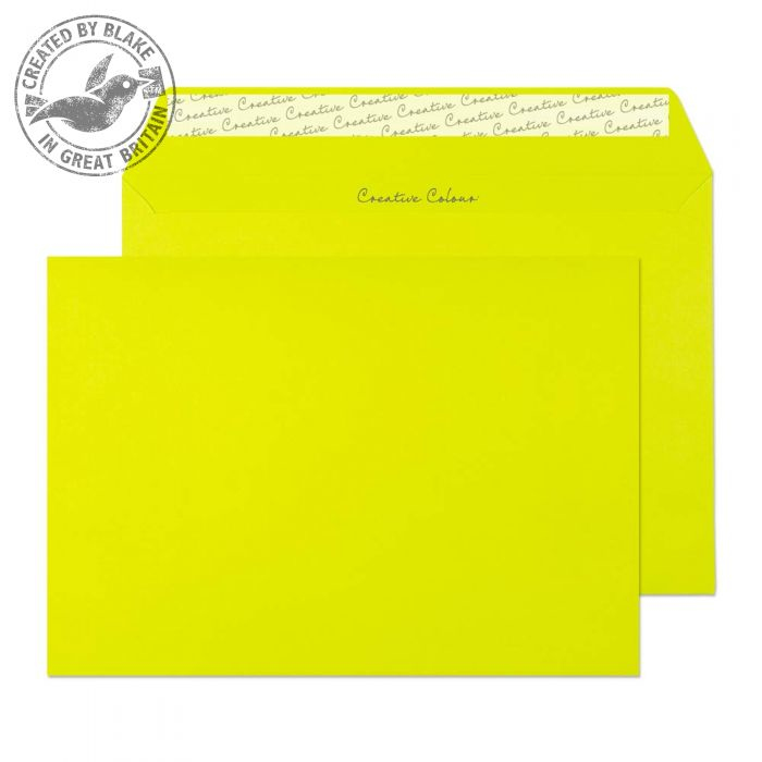 341 Blake Creative Colour Acid Green Peel & Seal Wallet 162X229mm 120Gm2 Pack 500 Code 341 3P- 341