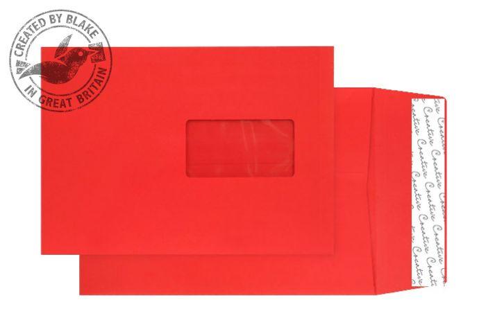 6061W Blake Creative Colour Pillar Box Red Window P&S Gusset Pocket 229X162X25 140G Pk125 Code 6061W 3P- 6061W