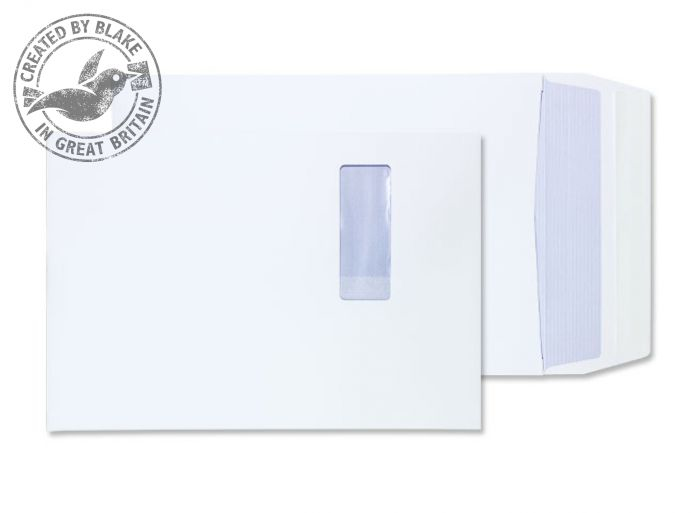 41062W Blake Purely Packaging White Window Peel & Seal Gusset Pocket 350X250X25mm 140G Pk125 Code 41062W 3P- 41062W