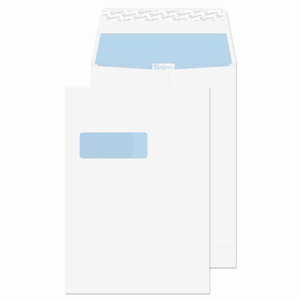 37116 Blake Premium Office Ultra White Wove Window P&S Gusset Pocket 324X229X25 140G Pk100 Code 37116 3P- 37116