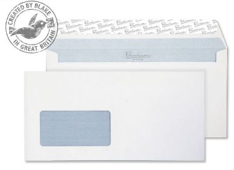 33216 Blake Premium Office Ultra White Wove Window Peel & Seal Wallet 114X229mm 120G Pk500 Code 33216 3P- 33216