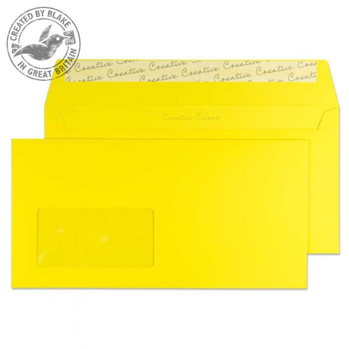 203W Blake Creative Colour Banana Yellow Window Peel & Seal Wallet 114X229mm 120Gm2 Pack 500 Code 203W 3P- 203W