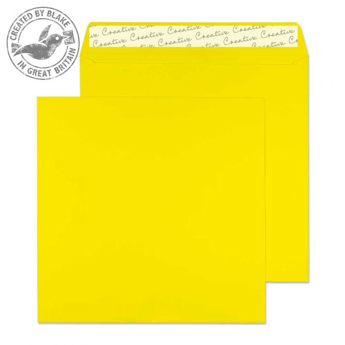 603 Blake Creative Colour Banana Yellow Peel & Seal Square Wallet 160X160mm 120Gm2 Pack 500 Code 603 3P- 603