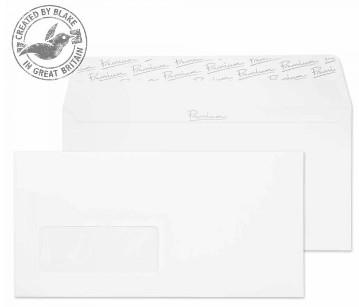31265 Blake Premium Business Ice White Wove Window Peel & Seal Wallet 110X220mm 120G Pk50 Code 31265 3P- 31265