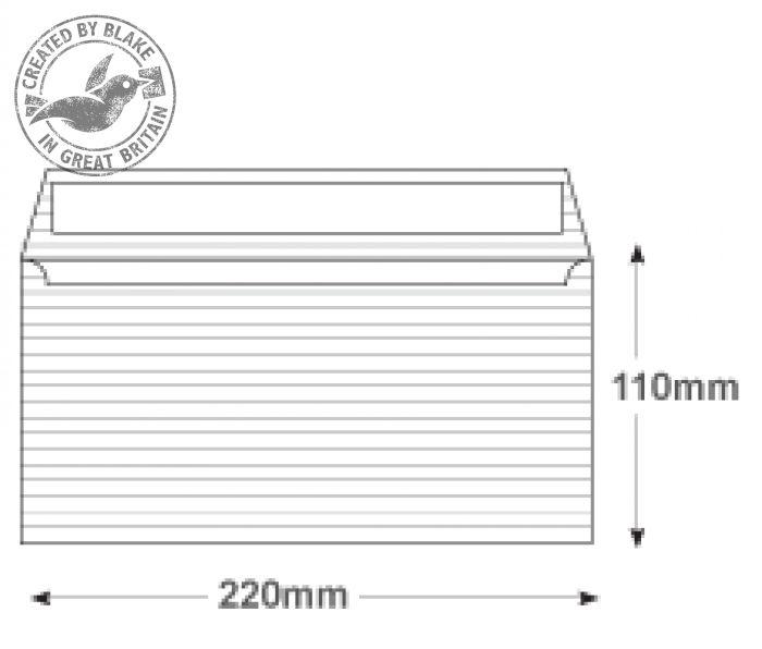 39254 Blake Premium Business High White Laid Peel & Seal Wallet 110X220mm 120Gm2 Pack 25 Code 39254 3P- 39254