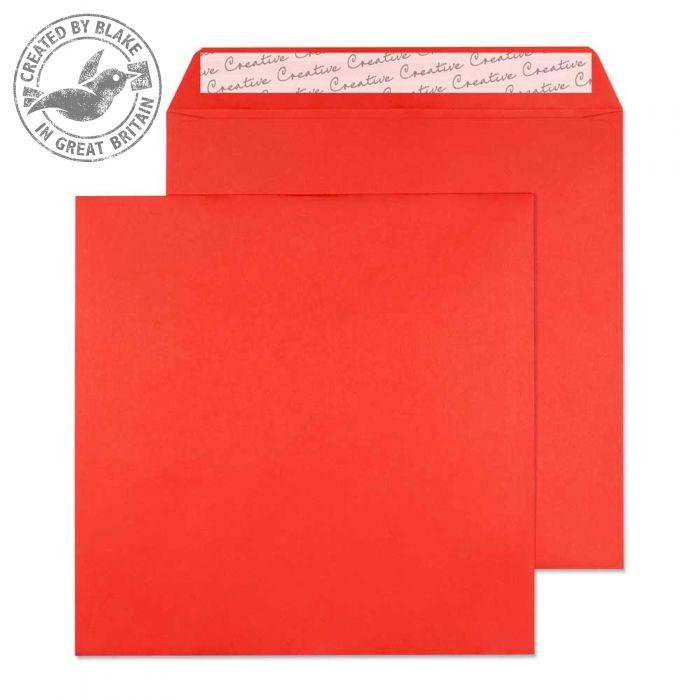 606 Blake Creative Colour Pillar Box Red Peel & Seal Square Wallet 160X160mm 120Gm2 Pack 500 Code 606 3P- 606