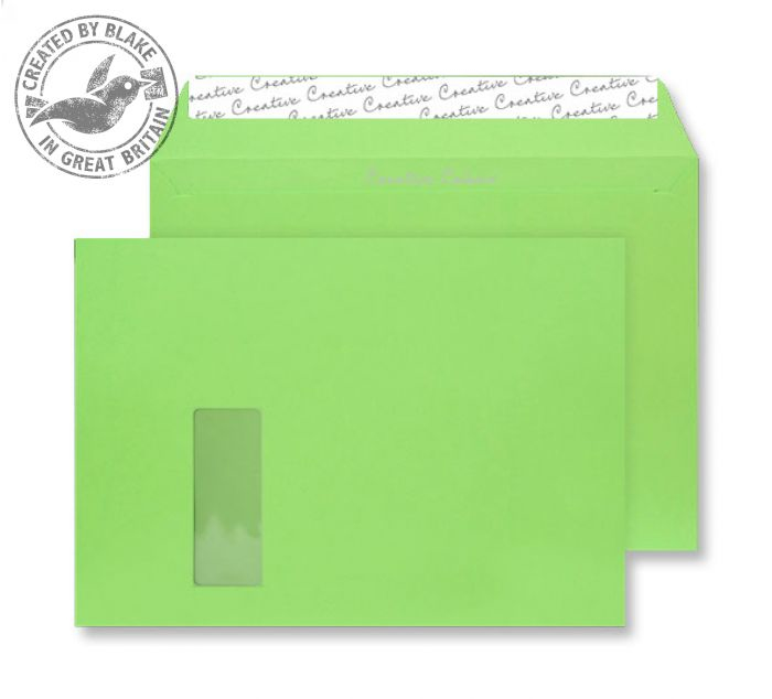 407W Blake Creative Colour Lime Green Window Peel & Seal Wallet 229X324mm 120Gm2 Pack 250 Code 407W 3P- 407W