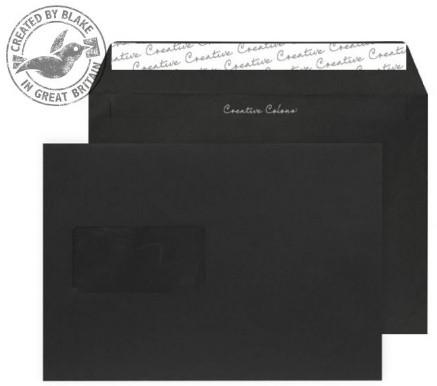 314W Blake Creative Colour Jet Black Window Peel & Seal Wallet 162X229mm 120Gm2 Pack 500 Code 314W 3P- 314W