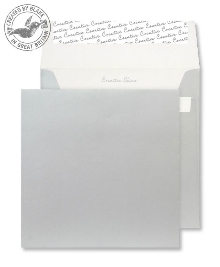 M612 Blake Creative Shine Metallic Silver Peel & Seal Square Wallet 160X160mm 130G Pk500 Code M612 3P- M612