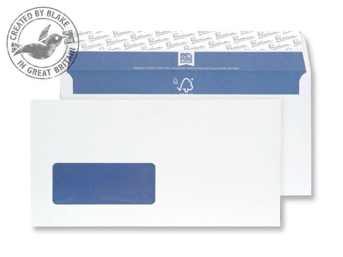 RP81884 Blake Premium Pure Super White Wove Window Peel & Seal Wallet 110X220mm 120G Pk500 Code Rp81884 3P- RP81884