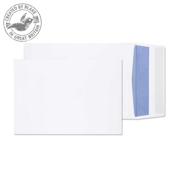 6000 Blake Purely Packaging White Peel & Seal Gusset Pocket 229X162X25mm 120Gm2 Pack 125 Code 6000 3P- 6000