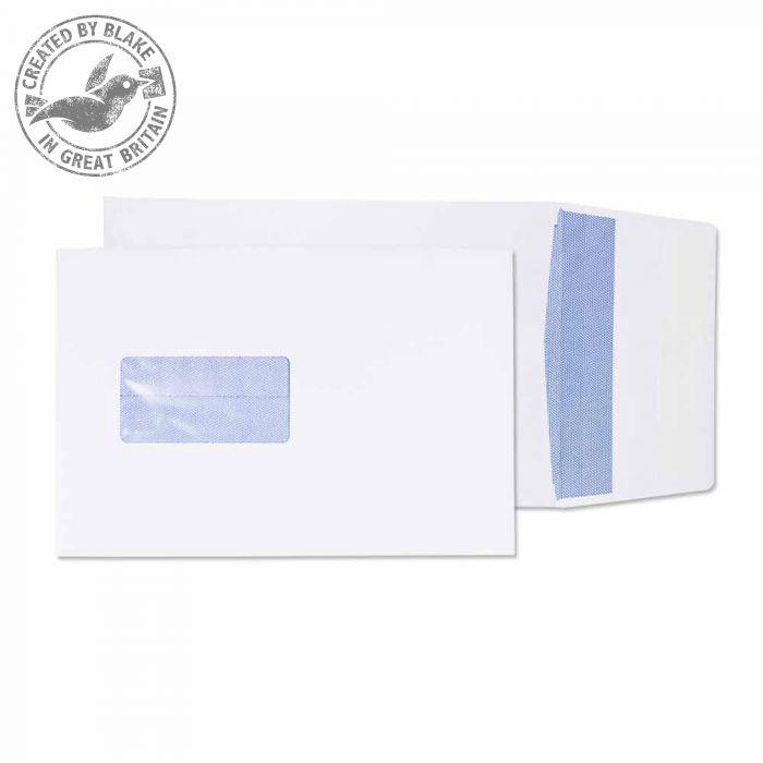 6001 Blake Purely Packaging White Window Peel & Seal Gusset Pocket 229X162X25mm 120G Pk125 Code 6001 3P- 6001