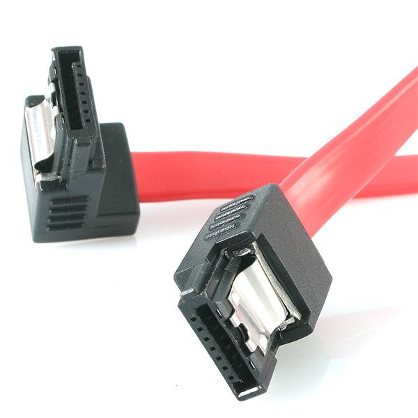 Startech.com Startech.com 12in Latching Sata To Right Angle Sata Serial Ata Cable - Sata Cable - Serial Ata 150/300 - Sata (f) To Sata (f) - 30 Cm - Latched  Right-angled Connector - Red - For P/n: Pexsat31e1  Pexsat32 Lsata12ra1 - xep01