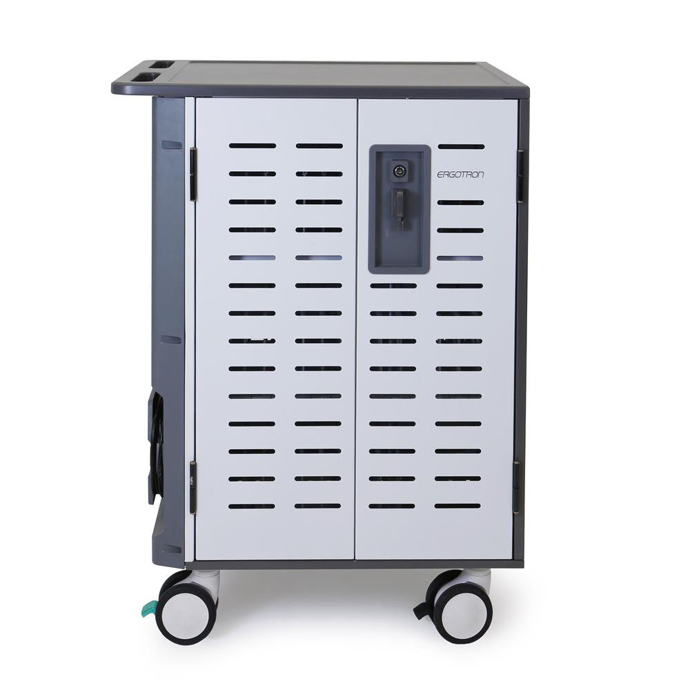 "Ergotron Zip40 Charging Cart - Cart (charge Only) For 40 Tablets / Notebooks - Lockable - Steel - Grey, White - Screen Size: Up To 15.6"" DM40-2009-3 - C2000"