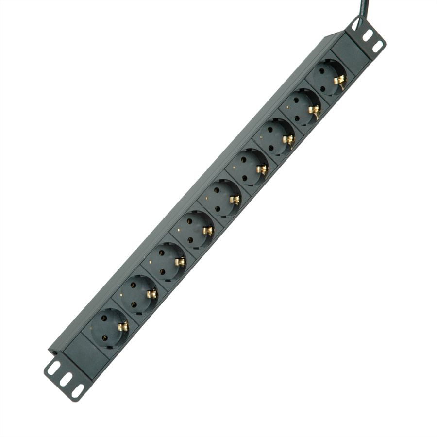 "19.07.1621 ROLINE 19"" Black Alu. PDU. 9-way CEE7/4 Outlet Factory Sealed"