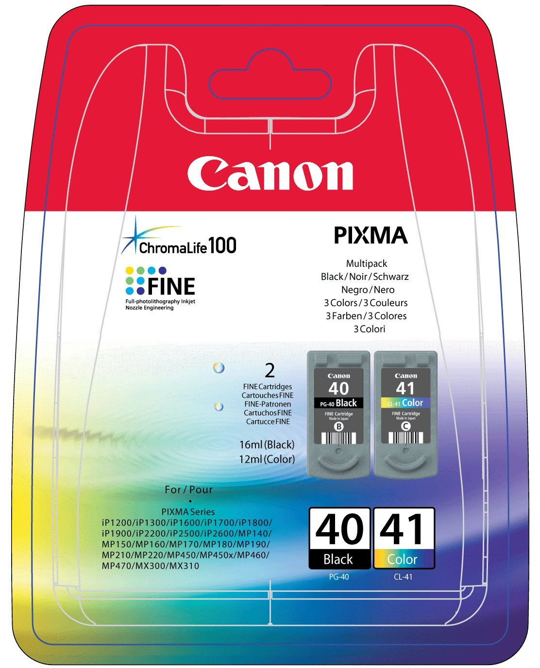 0615b043 canon Pg40 & Cl41 Multipack (2 Carts) - AD01