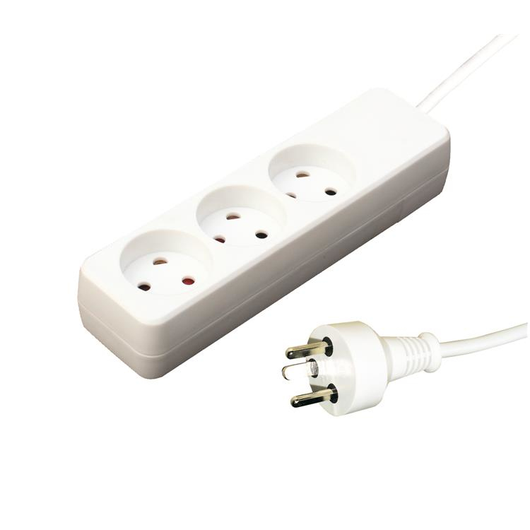 24155119-10E Garbot Plast Power Strip 3-way K Outlet. White Factory Sealed