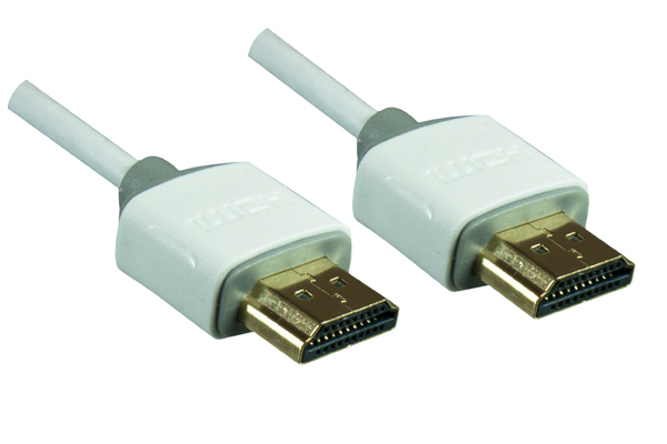 MO-HDMI-1W Dinic HDMI1.4 Slim Cable. AWG36. M/M. White. 1.0m Factory Sealed