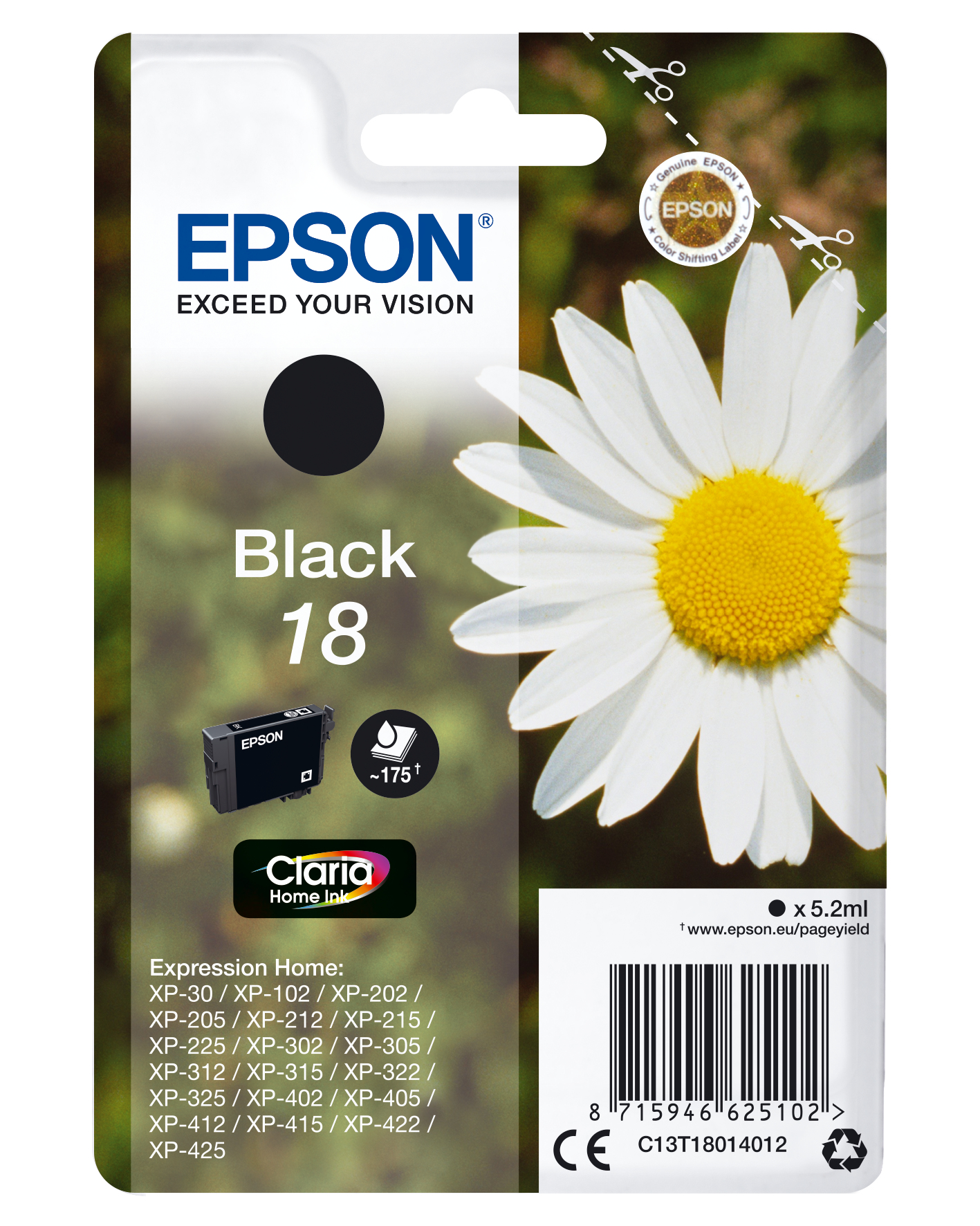 Epson 18 - 5.2 Ml - Black - Original - Ink Cartridge - For Expression Home XP-212, 215, 225, 312, 315, 322, 325, 412, 415, 422, 425 C13T18014012 - C2000