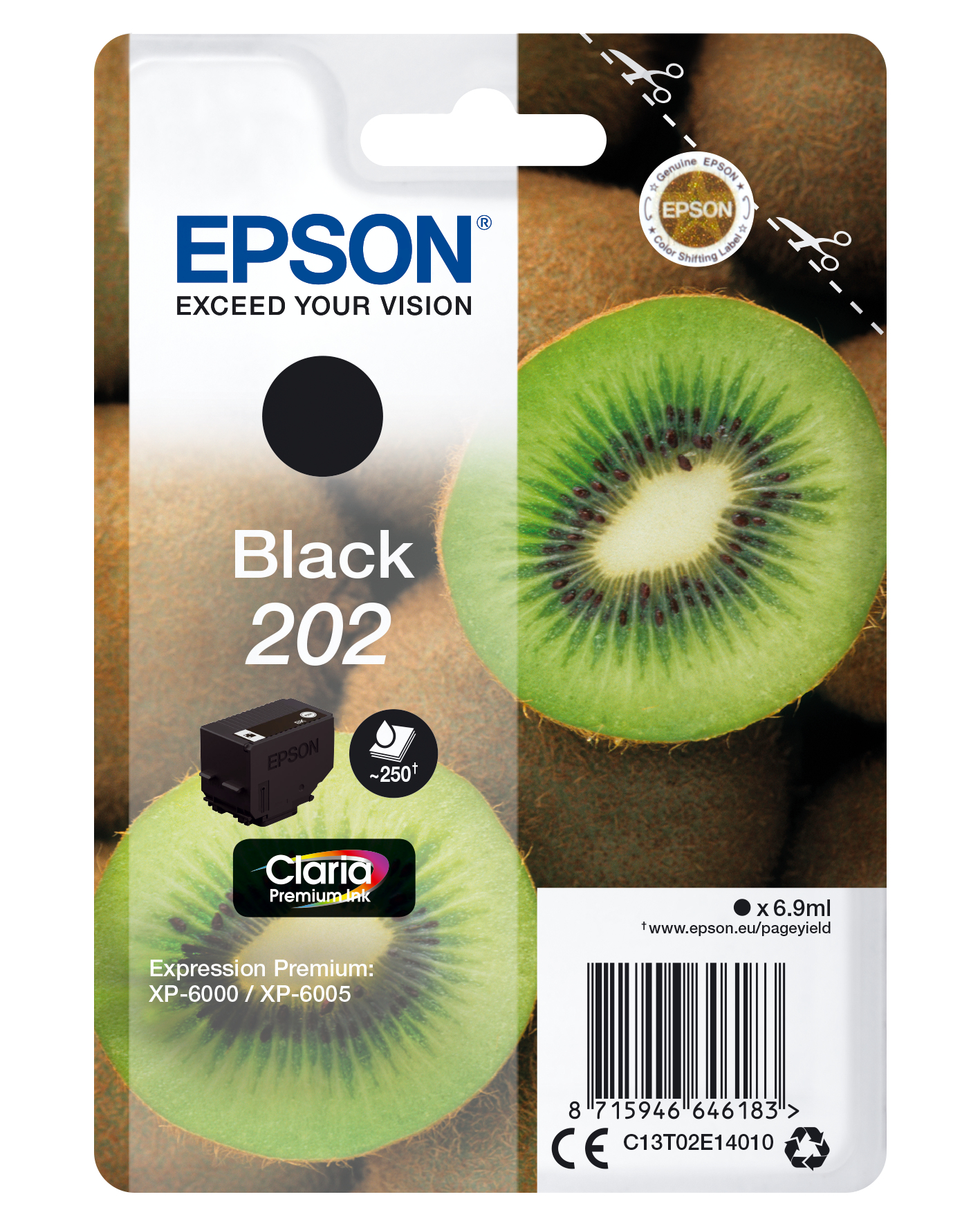 Epson 202 - 6.9 Ml - Black - Original - Blister - Ink Cartridge - For Expression Premium XP-6000, XP-6005, XP-6100, XP-6105 C13T02E14010 - C2000
